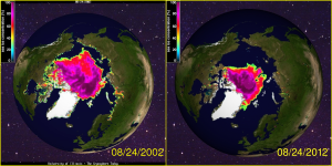 Arctic Sea Ice August 2002 - 2012