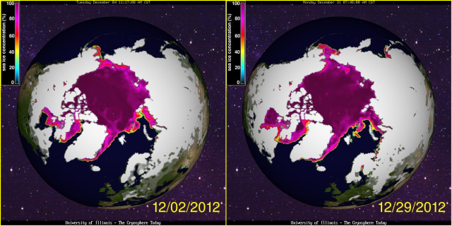 Arctic Sea Ice Extent Dec 2012