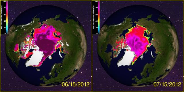 Arctic Sea Ice Extent Juin 2012 Juillet 2012