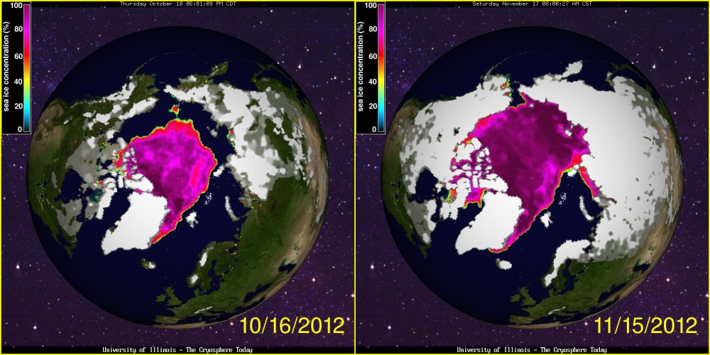 Arctic Sea Ice Oct 2012 Nov 2012