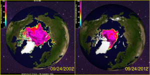 Arctic Sea Ice September 2002 - 2012