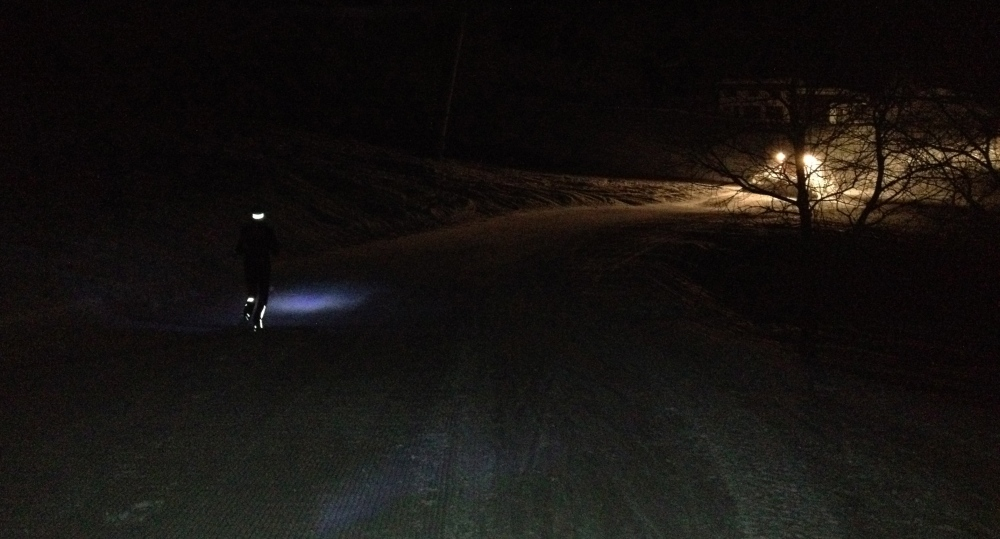 Steph running snow
