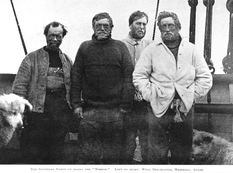 Expe Nimrod Wild, Shackleton, Marshall, Adams.